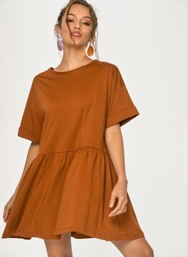 Loves You Kısa Kol Volanlı Penye Elbise Taba